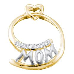 0.04 CTW Diamond Mom Mother Pendant 10KT Yellow Two-tone Gold - REF-10K5W