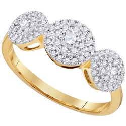 0.50 CTW Diamond Triple Cluster Fashion Ring 10KT Yellow Gold - REF-46F4N