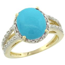 Natural 3.47 ctw Turquoise & Diamond Engagement Ring 14K Yellow Gold - REF-55W7K
