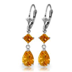 Genuine 4.5 ctw Citrine Earrings Jewelry 14KT White Gold - REF-41T4A