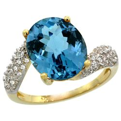 Natural 6.45 ctw london-blue-topaz & Diamond Engagement Ring 14K Yellow Gold - REF-56M7H