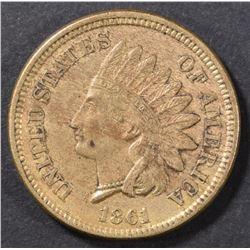 1861 INDIAN CENT XF/AU
