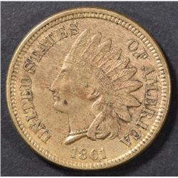 1861 INDIAN CENT XF/AU