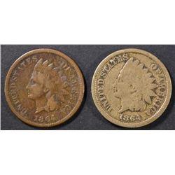 1864 CN & BRONZE INDIAN CENTS VG