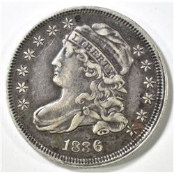 1836 CAPPED BUST DIME, XF+