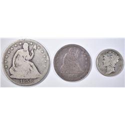 3 COIN LOT:  1921-D MERCURY DIME  G,