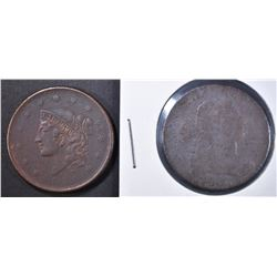 1803 AG  & 1838 LARGE CENT XF CORROSION