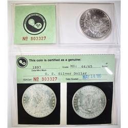 1897 MORGAN DOLLAR  IGA CH/GEM BU
