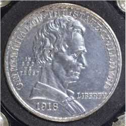1918 LINCOLN COMMEM HALF DOLLAR  BU CLEANED