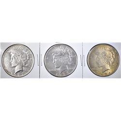 3 BETTER DATE PEACE DOLLARS 1927, 1934 & 1935