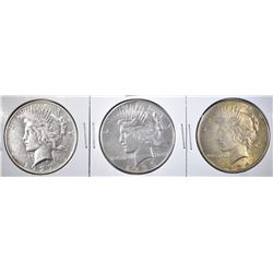 3 BETTER DATE PEACE DOLLARS 1927, 1934 & 1935