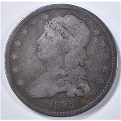 1835 CAPPED BUST QUARTER  F