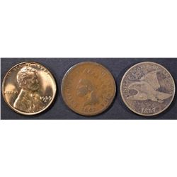 LOT OF 3 CENTS:  1857 FLYING EAGLE VG,