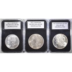 1921, 1921-D & 1921-S MORGAN DOLLARS  BU