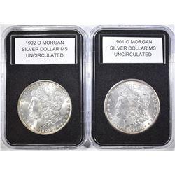 1901-O & 1902-O MORGAN DOLLARS  BU