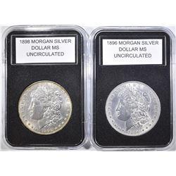 1896 & 1898 MORGAN DOLLARS  BU