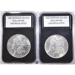 1890 & 1886 MORGAN DOLLARS  BU