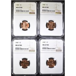 4-1987 LINCOLN CENTS NGC MS-67 RD