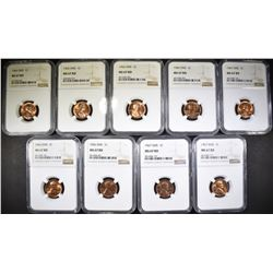 LOT OF 9 LINCOLN CENTS NGC MS-67 RD: