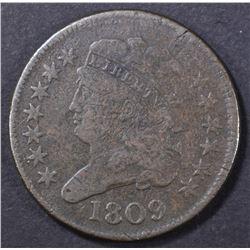 1809 CIRCLE INSIDE O HALF CENT   FINE