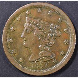 1857 HALF CENT  CH AU