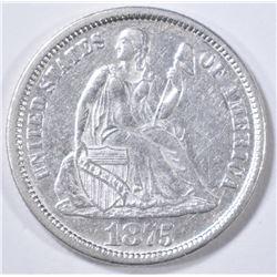 1875 SEATED LIBERTY DIME   AU/BU