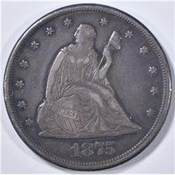 1875-CC 20 CENT PIECE  XF/AU