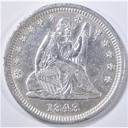 1843 SEATED LIBERTY QUARTER  AU  DAMAGE