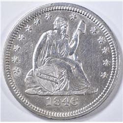 1846 SEATED LIBERTY QUARTER   AU/BU
