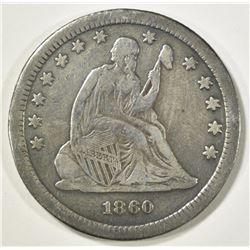1860-S SEATED LIBERTY QUARTER  F/VF  KEY DATE