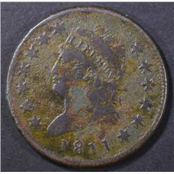 1811 LARGE CENT, VG CORRODED
