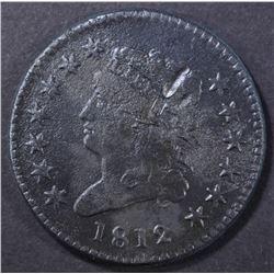 1812 LARGE CENT, XF damage