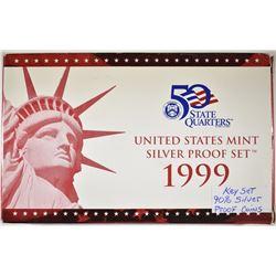 1999 SILVER PROOF SET ORIG BOX/COA