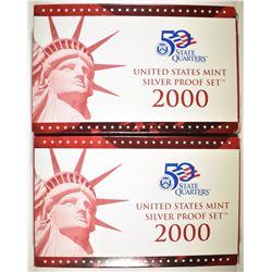 2-2000 U.S. SILVER PROOF SETS ORIG BOXES/COA