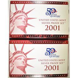 2-2001 U.S. SILVER PROOF SETS ORIG BOXES/COA