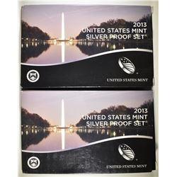 2-2013 U.S. SILVER PROOF SETS IN ORIG BOXES/COA