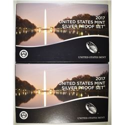 2-2017 U.S. SILVER PROOF SETS IN ORIG BOXES/COA