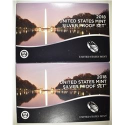2-2018 U.S. SILVER PROOF SETS IN ORIG BOXES/COA