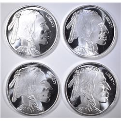 4-ONE OUNCE .999 SILVER INDIAN/BUFFALO ROUNDS