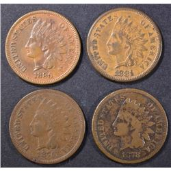 1878 G, 79 F, 80 XF, 81 VF INDIAN CENTS