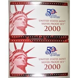 2-2000 U.S. SILVER PROOF SETS ORIG PACKAGING