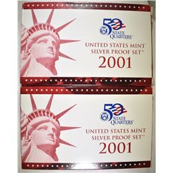 2-2001 U.S. SILVER PROOF SETS ORIG PACKAGING