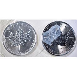 1990 & 2014 GEM BU CANADA SILVER MAPLE LEAF COINS