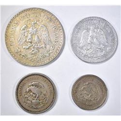 1934 UN PESO 2-1936-M 10 & 1-1945 50 CENTAVOS