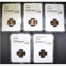1960 LD, 61, 62, 63, 64 LINCOLN CENTS NGC PF-67 RD
