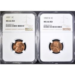 1937-P,D LINCOLN CENTS NGC MS-66 RD