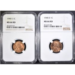 1948-D,S LINCOLN CENTS NGC MS-66 RD