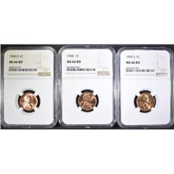 1955-S, 58-P,D LINCOLN CENTS NGC MS-66 RD