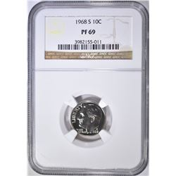 1968-S ROOSEVELT DIME NGC PF-69