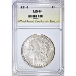 1921-S MORGAN DOLLAR OBCS CH/GEM BU